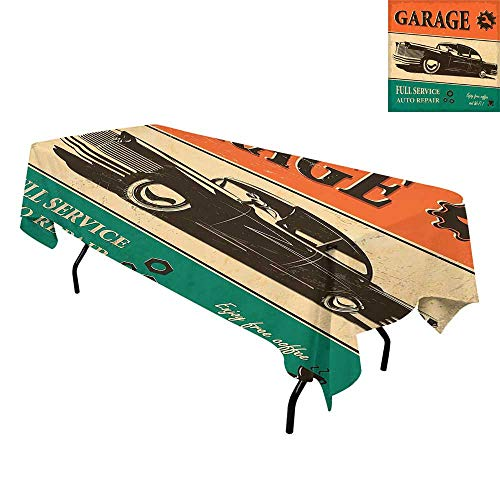 Vintage,Tablecloth Cotton Linen Dust-Proof Table Cover,Garage Retro Poster with Classic Car Automobile Mechanic Nostalgic 50s,Dinning Tabletop Decoration,W60 x L120 Inch Orange Beige Jade Green