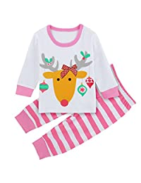 A&J Design Baby Elk Deer Cute Pajamas Sleepwear 2PCs Sets