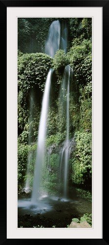 GreatBIGCanvas ''Waterfall in a forest, Lombok, Indonesia'' Photographic Print with Black Frame, 17'' x 48'' by greatBIGcanvas