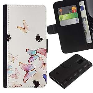 All Phone Most Case / Oferta Especial Cáscara Funda de cuero Monedero Cubierta de proteccion Caso / Wallet Case for Samsung Galaxy S5 Mini, SM-G800 // acuarela mariposa naturaleza vuelo de primavera