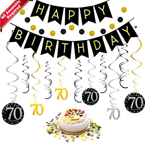 70th Birthday Decorations Kit for Men & Women 70 Years Old Party, NO Assembly Required - Black Gold Happy Birthday Banner, Hanging Swirls, Circle Dots Hanging Decoration, Number 70 Table Confetti -