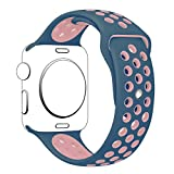 Apple Watch Band Series 1 Series 2,Hailan Soft Durable Nike + Sport Replacement Wrist Strap for iWatch,38mm,S/M,Light Pink / Midnight Blue