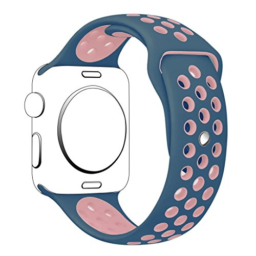 Apple Watch Band Series 1 Series 2,Hailan Soft Durable Nike + Sport Replacement Wrist Strap for iWatch,42mm,S/M,Light Pink / Midnight Blue