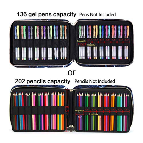 202 Colored Pencils Pencil Case - 136 Color Gel pens Pen Bag or Marker Organizer - Universal Artist Use Supply Zippered Large Capacity Slot Super Big Professional Storage qianshan Shark