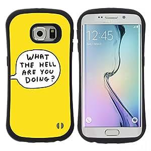 """Hypernova Slim Fit Dual Barniz Protector Caso Case Funda Para Samsung Galaxy S6 EDGE [Amarillo de la burbuja de la historieta Qué Hacer El Infierno""""]"""