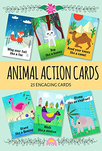Animal Action Cards. 25 Engaging Cards. Card Game for Toddlers. Active Toddler Game.]()