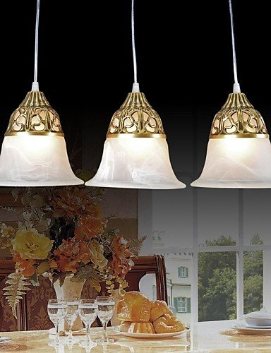 Moire Glass (LINA@ Bronze Pendant Three Lights Moire-Glass European Classic)