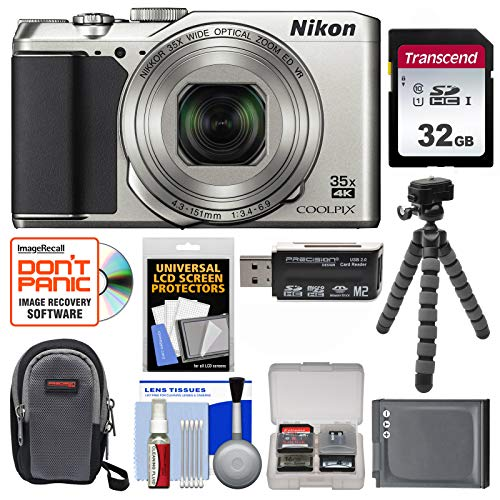 Nikon Coolpix A900 4K Wi-Fi Digital Camera (Silver) with 32GB Card + Case + Battery + Flex Tripod + Kit (Nikon Cameras For Tripods Digital)