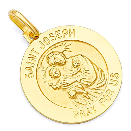 14k Yellow Gold Religious Saint Joseph Medal Charm Pendant (18 x 18 mm) ()