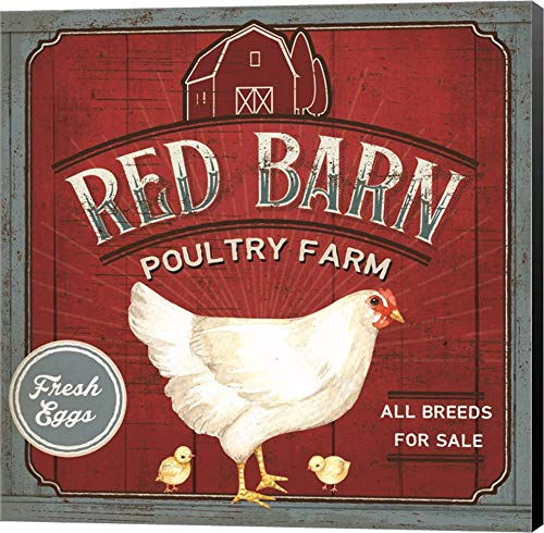Red Barn Poultry Farm by Mollie B. Canvas Art Wall Picture, Museum Wrapped with Black Sides, 12 x 12 inches