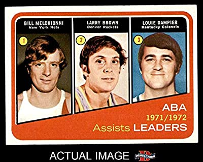 1972 Topps # 264 ABA Assist Leaders Bill Melchionni / Larry Brown / Louie Dampier New Jersey / Denver / Kentucky Nets / Rockets (Nuggets) / Colonels (Basketball Card) Dean's Cards 7 - NM Nets / Rockets (Nuggets) / Colonels