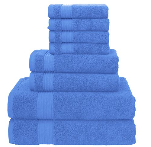 Premium 2017 [New Collection] 8 Piece Towel Set; 2 Bath Towels, 2 Hand Towels, 4 Washcloths, Eco-Friendly, Hotel Quality, Super Soft and Highly Absorbent by American Veteran Towel, Sky (Halloween South Park 2017)