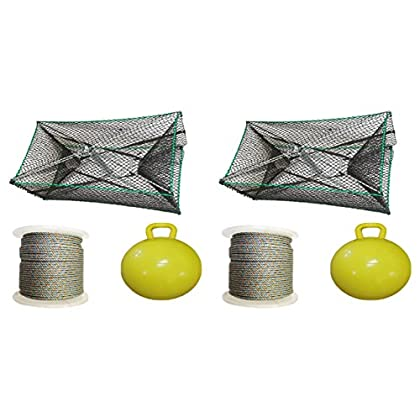 Image of 2 Pack of KUFA Sports Galvanized Steel Foldable Prawn Trap with 1/4'x400' Lead Rope, 15' Inflatable float & Bait Jar Combo (S32+LQ4+HB5+F15Y)x2 Fishing