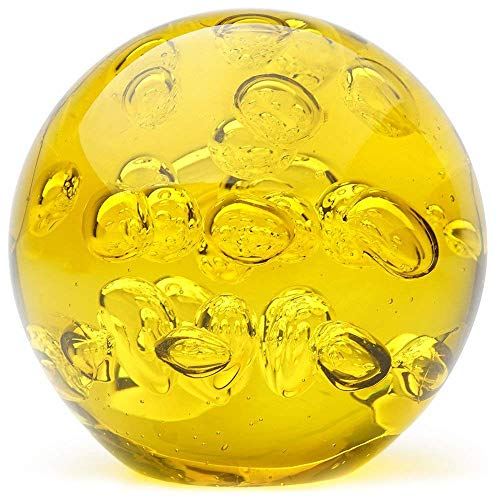 Glass Handmade Large Paperweight - Spa Bubbles - Yellow - 4