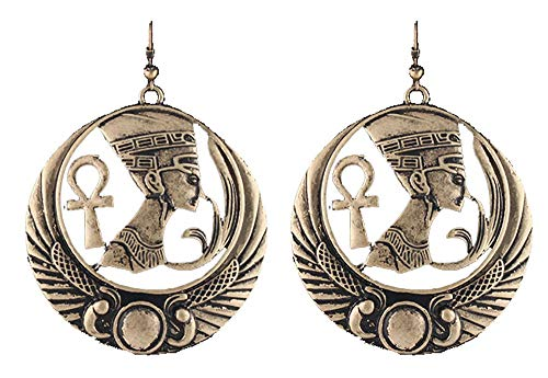 Antique Goldtone Embedded Nefertiti, Ankh Cross and Wings Design Dangle Earrings (R-3665)