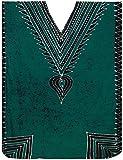 LA LEELA Cotton Batik Long Caftan Beach Dress Women Green_369 OSFM 14-18W [L-2X]