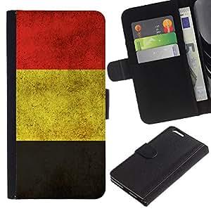 Apple (5.5 inches!!!) iPhone 6+ Plus , la tarjeta de Crédito Slots PU Funda de cuero Monedero caso cubierta de piel (Germany German Grunge Flag)