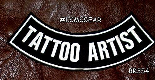 Sturgis-Mid-West Tattoo Artist White on Black Bottom Rocker Patches for Vest -