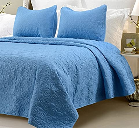 Multiple Sizes - Oversized-3pc Quilted Coverlet Set- Blue-Queen - Exclusively by Blowout Bedding RN# 142035