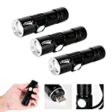 Mini USB Torch Rechargeable Pocket Flashlight, 3pcs Cree Q5 LED Super Bright 4X Zoomable Aluminum Alloy Portable for Home Factory School Camping Hiking Caving Indoor Outdoor (3Pcs Built-in Battery)