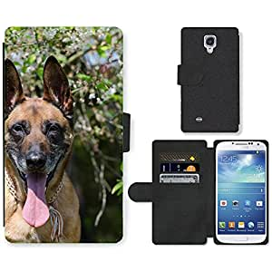GoGoMobile Flip PU Leather Wallet Case with Credit Card Slots // M00117735 Malinois Sch??fer Dog Spring // Samsung Galaxy S4 S IV SIV i9500
