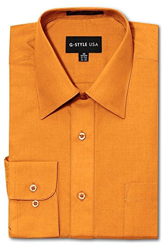 (G-Style USA Men's Regular Fit Long Sleeve Solid Color Dress Shirts - Orange -. - 2X-Large - 34-35)