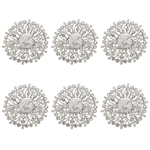 - C&L Accessories Silver Baroque Flower Napkin Rings Set of 6 for Dinner Party,Family Gatherings,Wedding