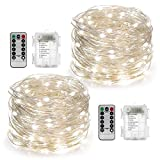2 Set Fairy String Lights Battery Operated Waterproof YIHONG 8 Modes Twinkling 50 LED String Lights 16.4FT Copper Wire Firefly Lights Remote Control for Bedroom Wedding Festival Decor (Daylight White)