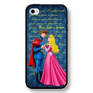 Disney Cartoon Sleeping Beauty Aurora Hard Plastic Phone Case Cover for iPhone 4/4s - Black