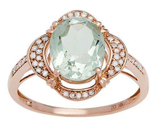 10k Rose Gold 2.0ct Oval Green Amethyst and Halo Diamond Ring (1/7 cttw)
