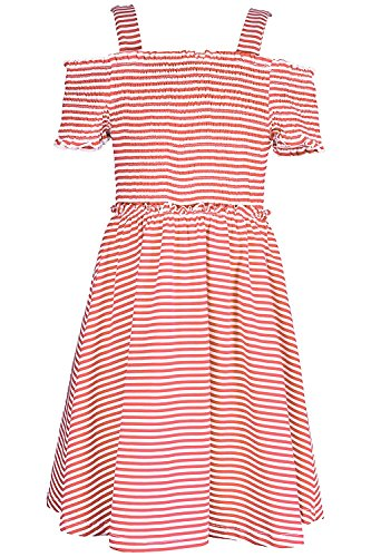 - Truly Me, Big Girls' Spring/Summer Easy Off-The-Shoulder Striped Knit Skater Dress with Smocking, Size 7-16 (Hot Pink, 14)