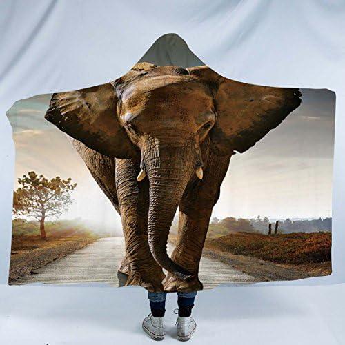 Sleepwish Wild Elephant Design Hooded Sherpa Blanket Hoodie Fleece Blanket Adult Mens Warm Blanket 60 X80 Amazon Ca Home Kitchen