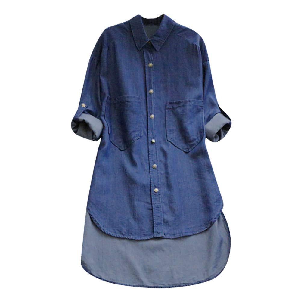ZIYOU Damen Lange Cowboy T Shirts, Freizeit Blusen Herbst Frauen Casual Langarm Knopf Hemdbluse Streetwear Oberteile mit Unregelmäßige Saum