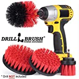 Stiff Bristle 4 Piece Drill Brush Nylon Cordless Drill Powered Spinning Brush Heavy Duty Scrubbing by Drillbrush