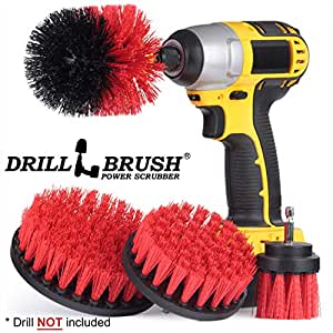 Drillbrush De cerdas duras 4 Pieza Taladro Cepillo de Nylon Taladro inalámbrico Powered Cepillo Giratorio Heavy Duty fregado