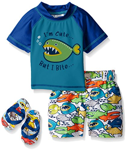 UPC 887310428256, Wippette Baby Angry Fish Rash Guard Set, Blue, 24 Months