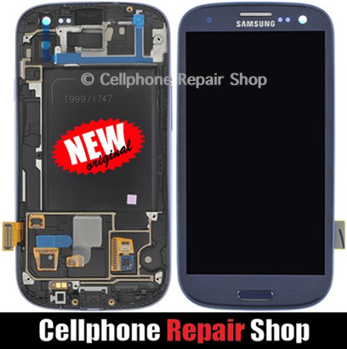 For Samsung Galaxy S3 SGH-i747 T999 ~ Blue AMOLED LCD Touch Screen Display+Frame ~ Mobile Phone Repair Part Replacement (Lcd Samsung S3 Display Galaxy)