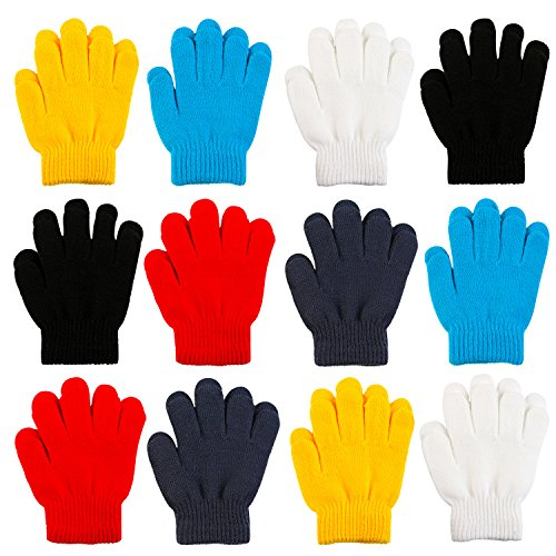 Coobey 12 Pairs Kid's Winter Magic Gloves Children Stretchy Warm Magic Gloves Boys or Girls Knit Gloves ( 6 to 12 Years )
