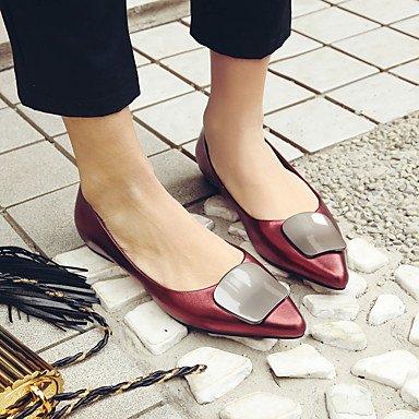 Cómodo y elegante soporte de zapatos de las mujeres pisos primavera verano otoño otros piel oficina y carrera vestido casual talón plano negro rojo gris otros negro