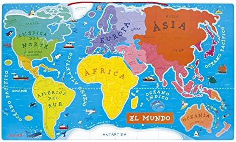Janod - Mapa del Mundo en madera, Puzzle magnético Versión ...