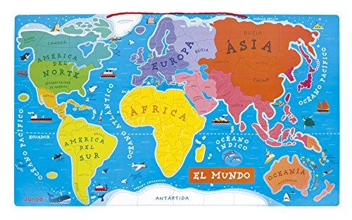 Mapa Del Mundo Infantil.Janod Puzzle Magnetico Del Mundo De Madera Version En Espanol 92 Piezas J05503