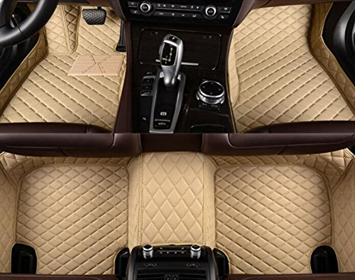 (YAOJINYI XPE Leather 5D Diamond Designed No Smell Anti-Slip car Floor mats for Bentley Flying spur 2014-2017 5 Seats (Beige))