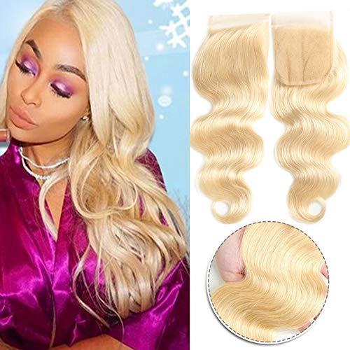 QTHAIR 8A 613 Blonde Closure Brazilian Body Wave 4x4 Lace Closure(14inch,Free Part)613 Blonde Human Hair Top Swiss Lace Brazilian Virgin Human Hair Body Wave Lace Closure