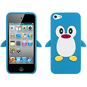 Baby Light Blue Penguin Silicon Soft Rubber Skin Case Cover For Apple iPhone 4 4S with Free Pouch by paywork