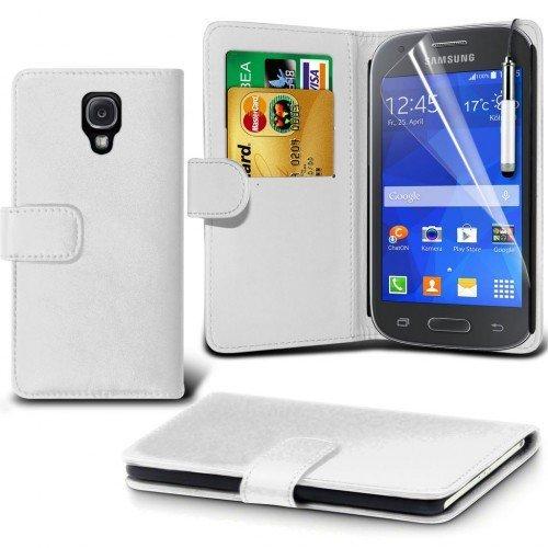 Samsung Galaxy Ace 3 Cubierta del caso con cuero (Blanco) Plus de regalo libre, Protector de pantalla y un lápiz óptico, Solicitar ahora mejor caja del teléfono Valorado en Amazon! By FinestPhoneCases