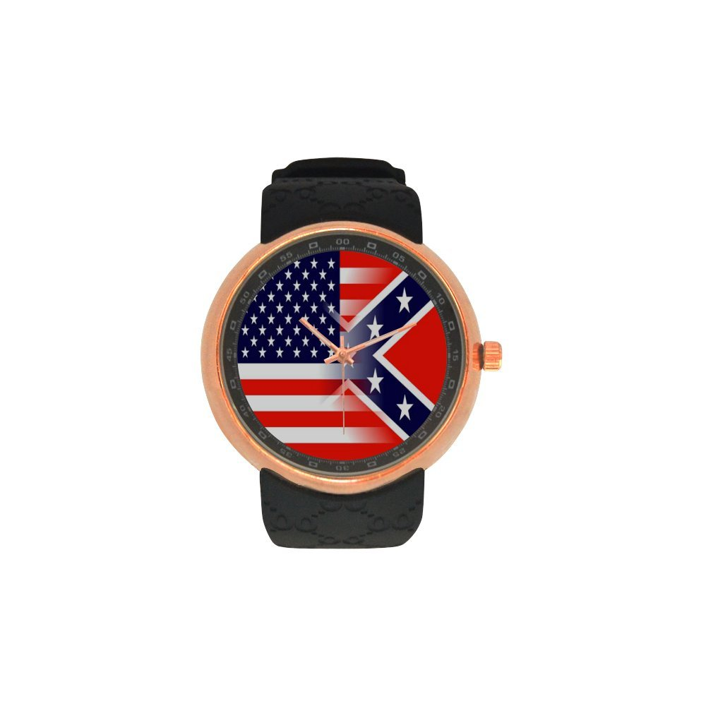 Novelty Gift US American Flag Men's Rose Gold Plated Resin Strap Watch