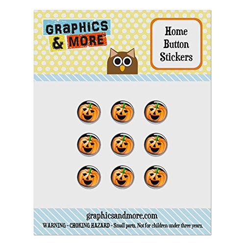 Set of 9 Puffy Bubble Home Button Stickers Fit Apple iPod Touch, iPad Air Mini, iPhone 4/4s 5/5c/5s 6/6s Plus - Halloween Fall Harvest Thanksgiving - Halloween Jack O' Lantern Pumpkin