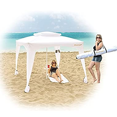 EasyGo Cabana -Beach & Sports Cabana keeps you Cool and Comfortable. Easy Set-up and Take Down. Large Shade Area. More Elegant & Classier than Beach Umbrella (WHITE)