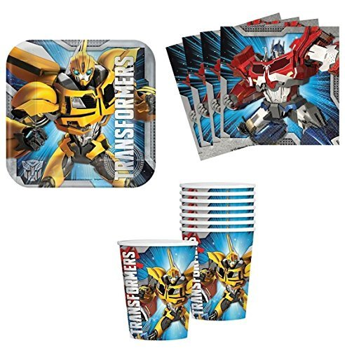 Transformers Birthday Party Supplies Set Plates Napkins Cups Kit for 16 (9 Transformers Cups Ounce)