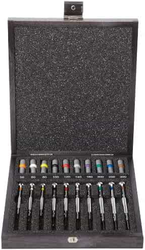 Bergeon 55-606 30009 Set of 9 Screwdrivers with 9 Tubes with Spare Blades in Wooden Box Watch Repair Kit